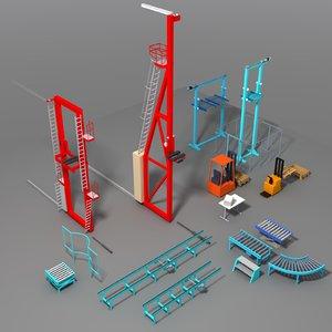conveyor warehouse 3D model