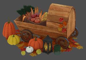 wheelbarrow vegetables autumn leaves model