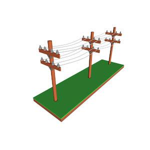 cartoon powerlines 3D model