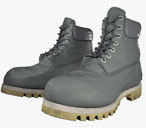 gray leather boots pbr 3D model