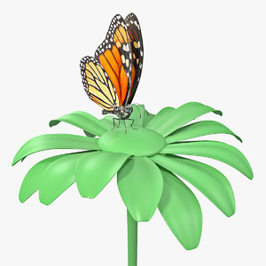3D model monarch butterfly collects nectar