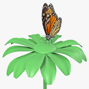 monarch butterfly collects nectar 3D model