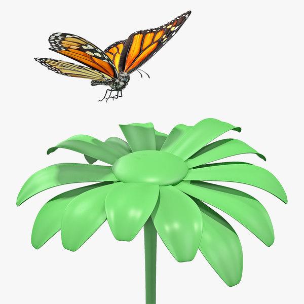 monarch butterfly sits flower 3D model