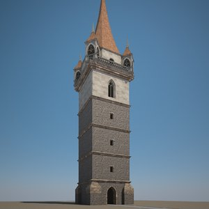 3D model medieval tower