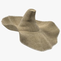 wide brim straw hat 3D