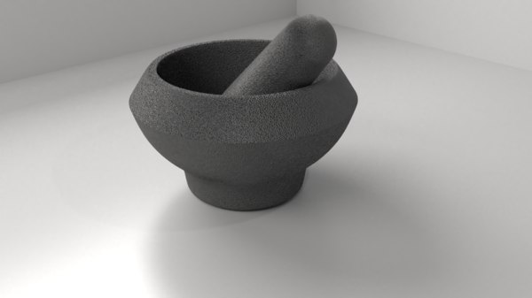stone mortar pestle 3D model