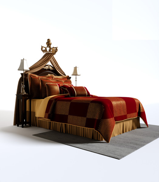 luxury baroque bedroom set 3D