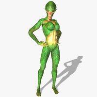 3D female alien character animations model