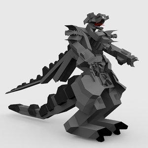 3D robot dragon tail model