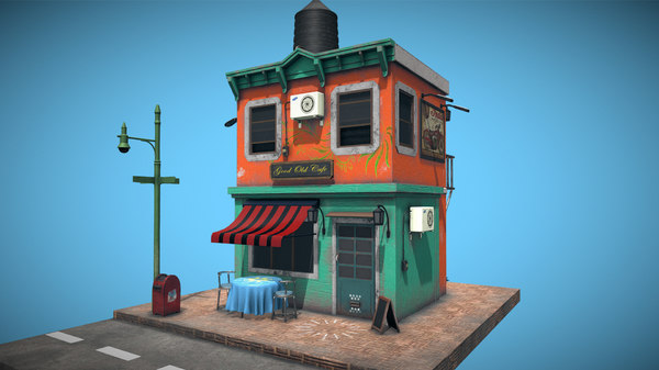 cafe old classic 3D model