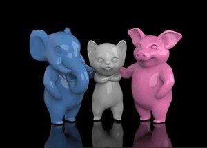 3D elephant pig cat