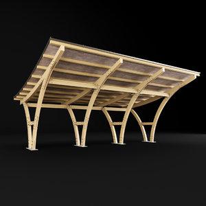 carport car wood 3D model
