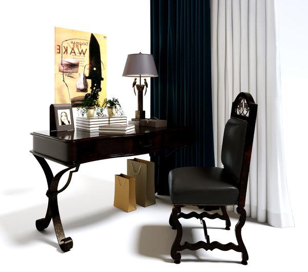3D table chair curtain