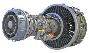 geared turbofan engine 3D model