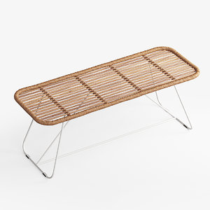 bare bamboo bench 3D model