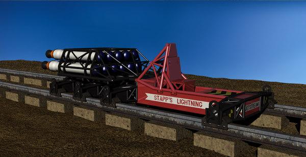 3D rocket sled g-force testing model
