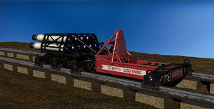 3D rocket sled g-force testing model