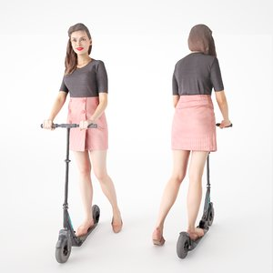 3D human young woman scooter model