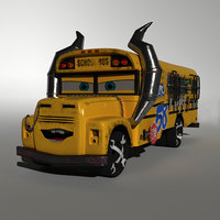 cartoon character cars miss 3D model