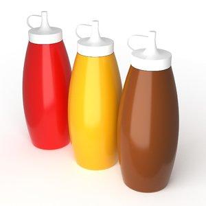 sauce bottles ketchup mustard model