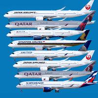 Airbus A350-900 / A350-1000 Base + 8 Liveries