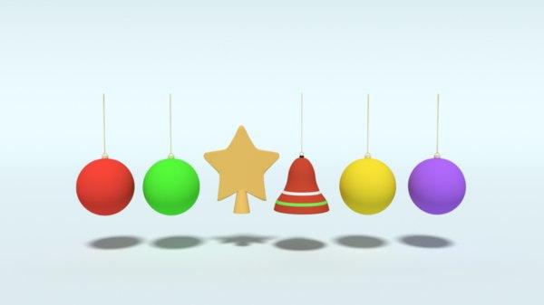 christmas decoration objects cartoon 3D