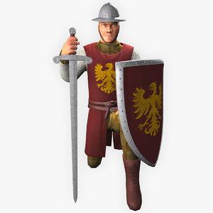 warrior sword fighter 3D model