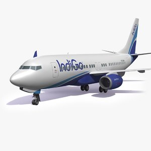 indigo airplane 3D model