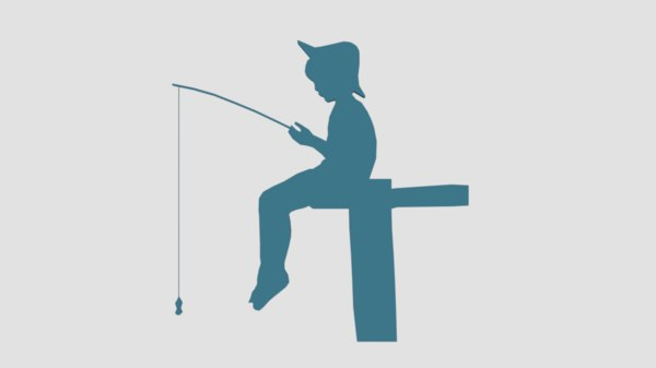 fishing boy silhouette decorative 3D