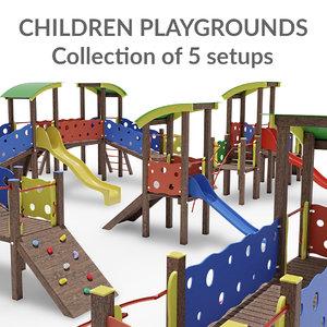 children playgrounds 3D model