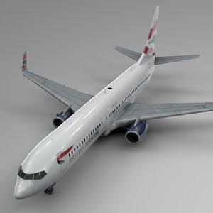 british airways boeing 737-800 3D model