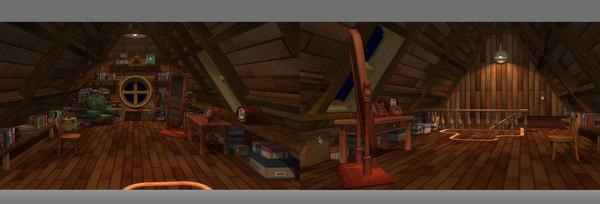 3D cartoon bedroom attic loft