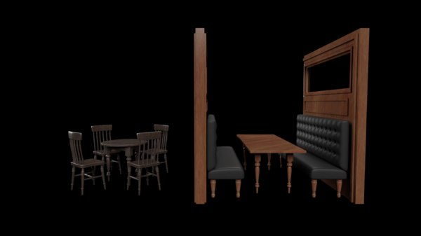 3D pub bar chairs