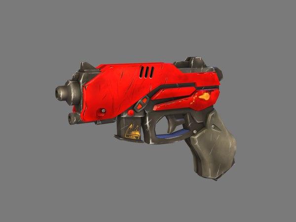 3D stylized sci-fi laser gun model