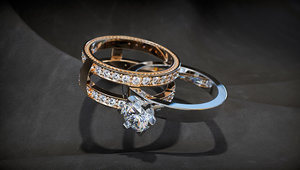 3D jewellery collapsible ring stones model