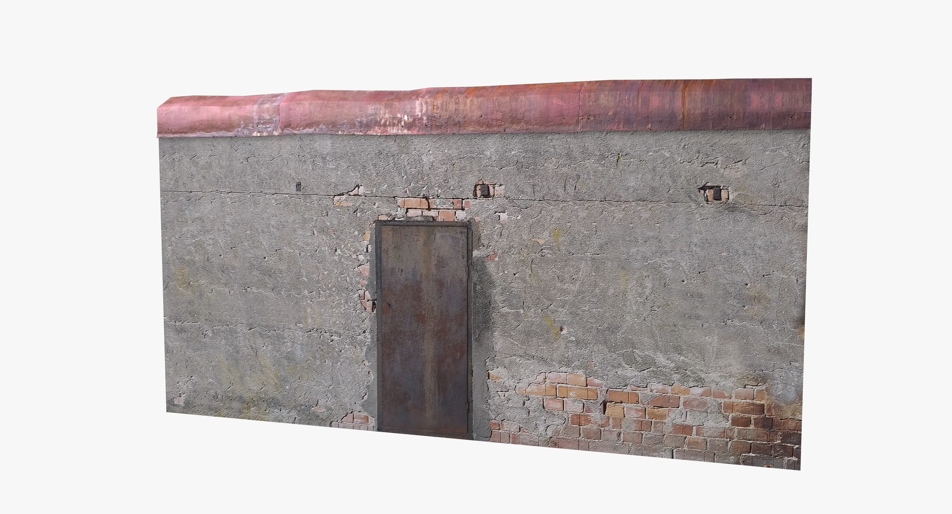 3D old timeworn concrete wall