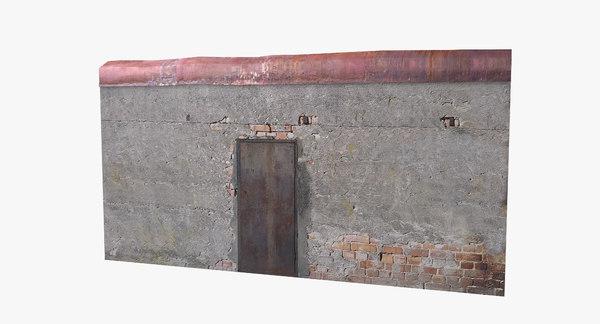 3D old timeworn concrete wall