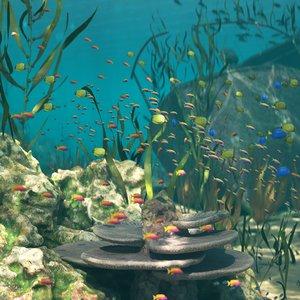3D underwater shipwreck scene