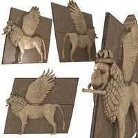 winged stone lion 3D model