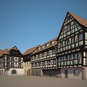 3D medieval houses
