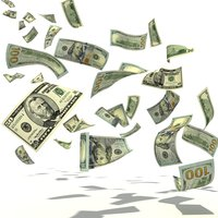 3D model rain dollars money