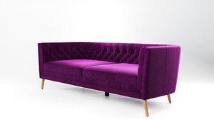 3D belair velvet sofa model