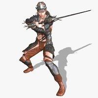 3D brianna character warrior