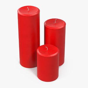 3D pillar candles red