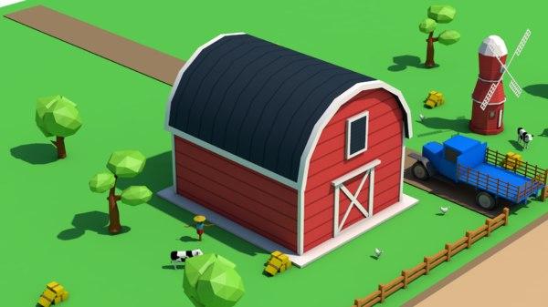 3D farm barn model