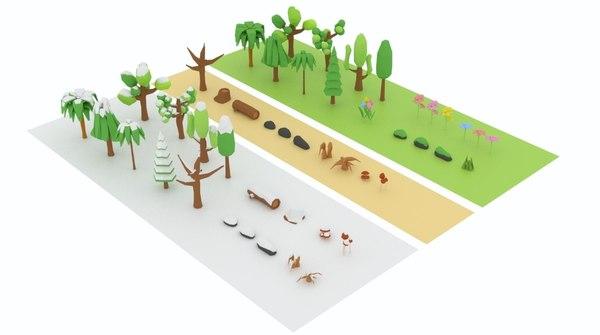 3D nature tree flower model