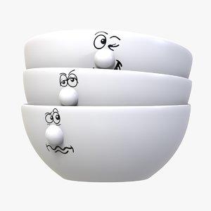 3D 3 funny bowls model