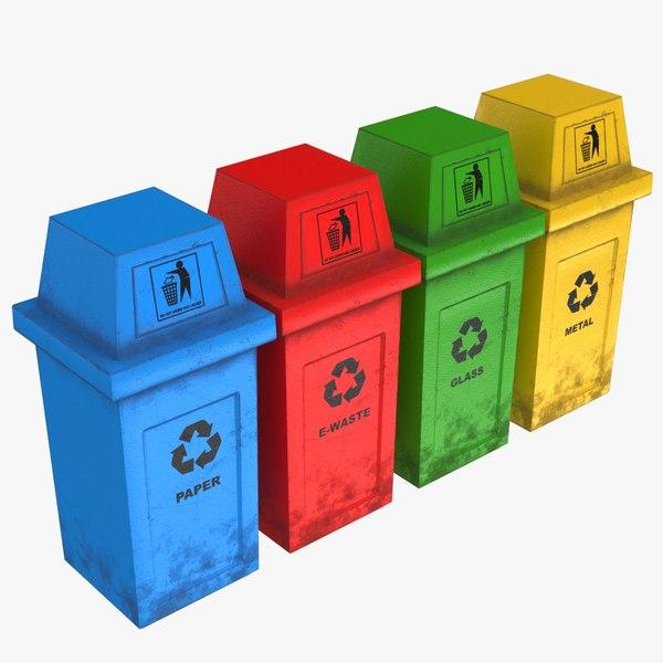 hooded recycle bins 3D model