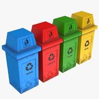 hooded recycle bins 3D model