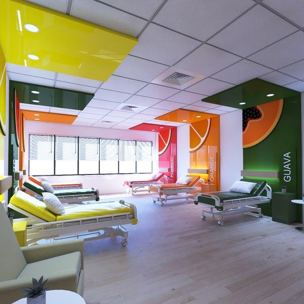 3D hospital room design model